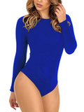 Sexy Simple Long Sleeve Round Neck Backless One-piece Swimwear