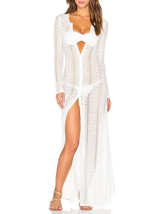 Sexy Hollow Lace Long Sleeve Maxi Beach Dress Cover Up