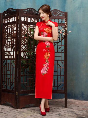 Pretty Red Floral Cap Sleeve Turtle Neck Side Split Long Cheongsam Party Dress