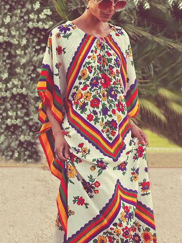 Floral Printed Round-neck Maxi Kaftan Dress