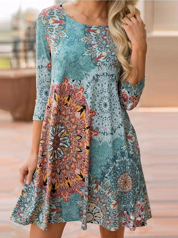 Bohemia Printed Round-neck Mini Dress