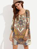 Beautiful Bohemia Floral Half Sleeve with Ties Mini Dress