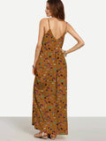 Pretty Brown Bohemia Spaghetti Straps V Neck Maxi Dress