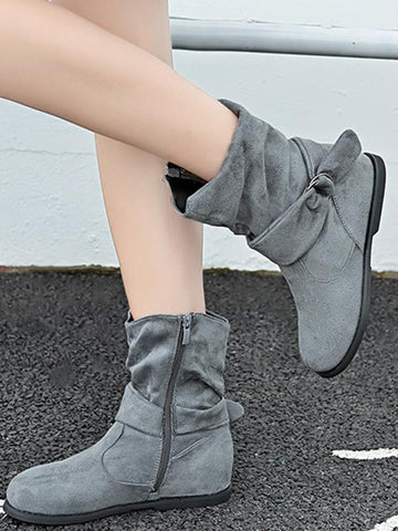 Solid Color Bandage Flat Boots Shoes