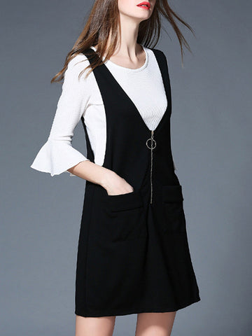 Attractive Two Pieces White Half Sleeve Shirt and Black Mini Dress Suits
