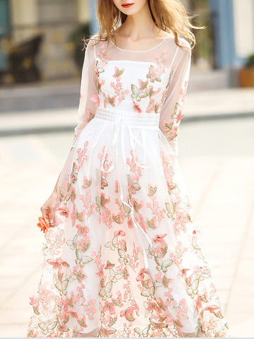 Romantic Floral Embroidery Round Neck 3/4 Sleeve Maxi Dress