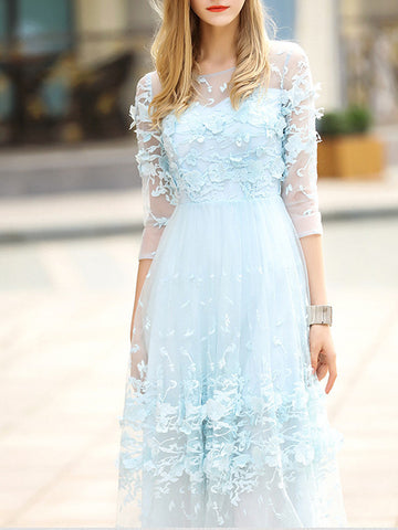 Pretty Sweet Lace Round Neck 3/4 Sleeve Maxi Dress