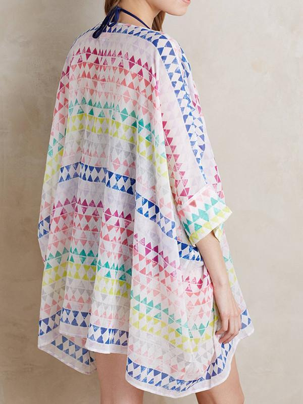 Chiffon Beach Vacation Half Sleeve Cape Mask Cover-ups