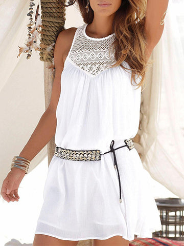 Lace Split-joint Sleeveless Mini Dress