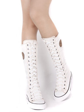 High-top Side Zipper Mid high Canvas Boots