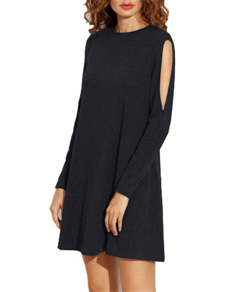 Solid Color Off shoulder long sleeve Mini Dress