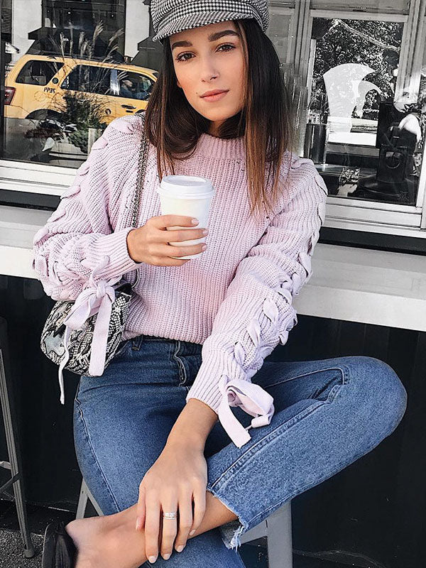 Fashion Raised Bands Loose Long sleeve Sweater Tops