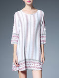 Fashion Stripe Off Shoulder 3/4 Sleeve Round Neck Plus Size Mini Dress