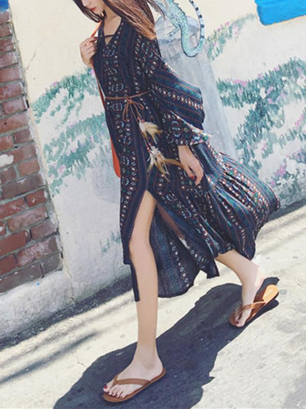 Beautiful Bohemia Black Stripe Long Sleeve Side Split Maxi Dress
