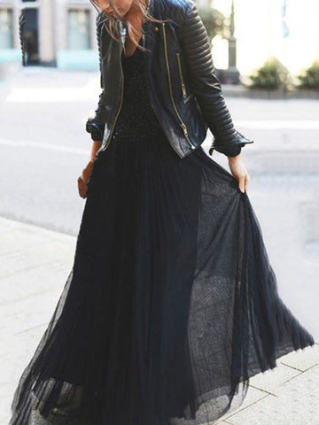 Loose Solid Empire Pleated Skirt