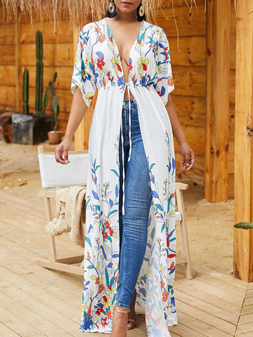 Positioning Printed Waisted Cover-up