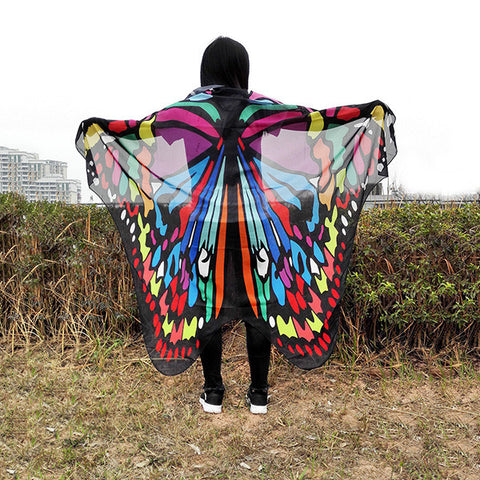 Pretty Colorful Butterfly Vacation Long Scarve Shawl