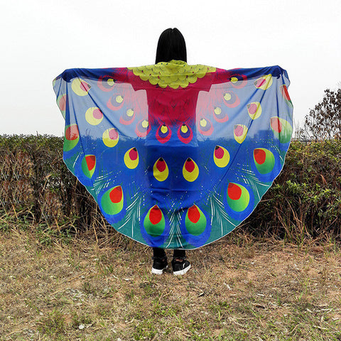 Beautiful Peacock Feathers Vacation Long Scarve Shawl
