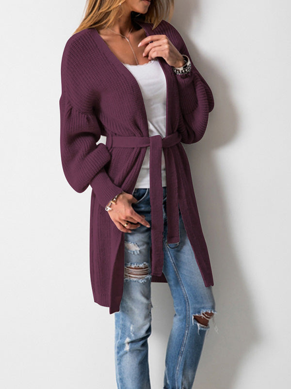 3 Colors Knitting Bandage Long Sleeves Cardigan Tops