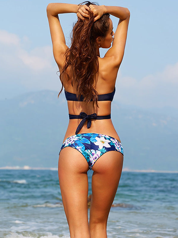 Cross Backless Printed Bikini Swimwear