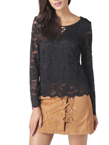 Sexy Round Neck Long Sleeve Lace Hollow Blouse Tops