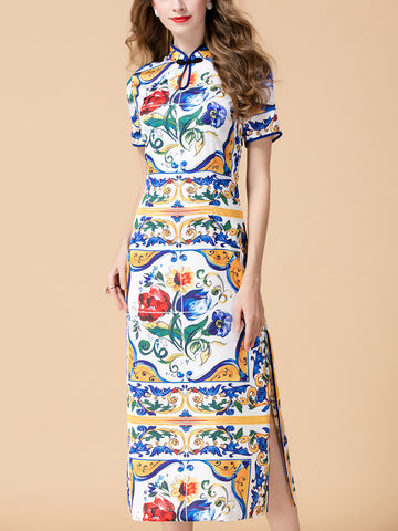 Real Silk Short Sleeve Printing Slim Fit Cheongsams Dress