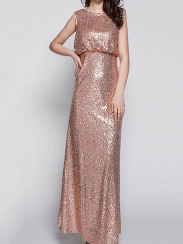 Shiny Sequined Sleeveless Round-Neck Maxi Dress Evening Dress