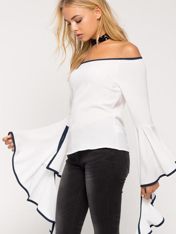 Pretty Sexy Solid Color Long Flared Sleeve Off-Shoulder T-Shirt Tops
