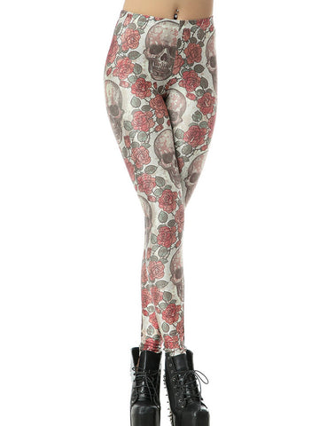 Sexy Conspicuous Print Skeleton Heads and Rose Skinny Leggings Bottoms