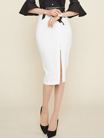 Smart White Lace Front Split Slim Fit Knee Length Skirt
