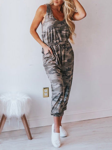Camouflage Printed Sleeveless Jumpsuits Bottom