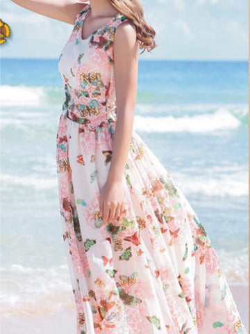 Pretty Bohemia Floral Thick Straps Sleeveless Maxi Dress