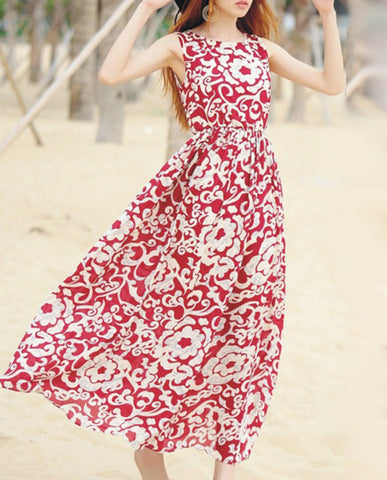 Fashion Bohemia Floral Thick Straps Sleeveless Maxi Dress