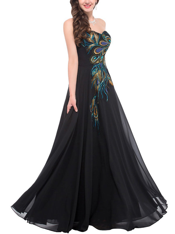 Embroidered Strapless Chiffon Evening Dress