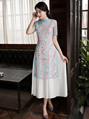 Spring New Lace Peachblossom Ao Dai Long Cheongsam Dress
