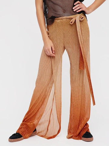 Pretty Asymmetry Gradient Wide Leg Bottom Casual Pants