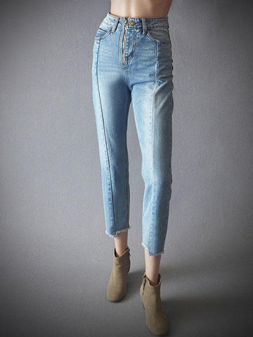 Fashion Loose Split Joint Asymmetric Jeans Pants Bottoms