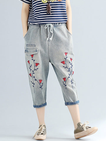 Retro Waisted Inwrought Floral-Print Loose 3/4 Length Jeans Pants
