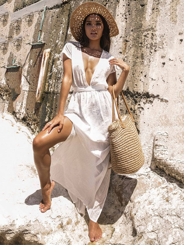 Deep V-neck Backless Empire Beach Cover-ups