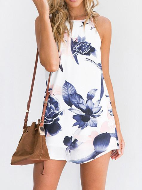 Beautiful Floral-Print Off-Shoulder Round Neck Mini Dress