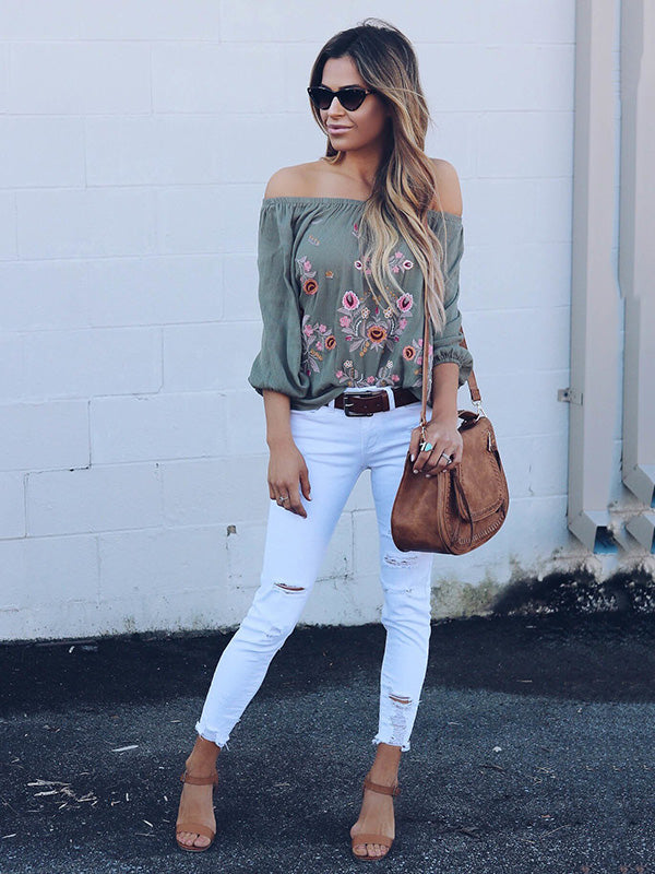 Off-the-shoulder Long Sleeves Blouse&shirt Tops
