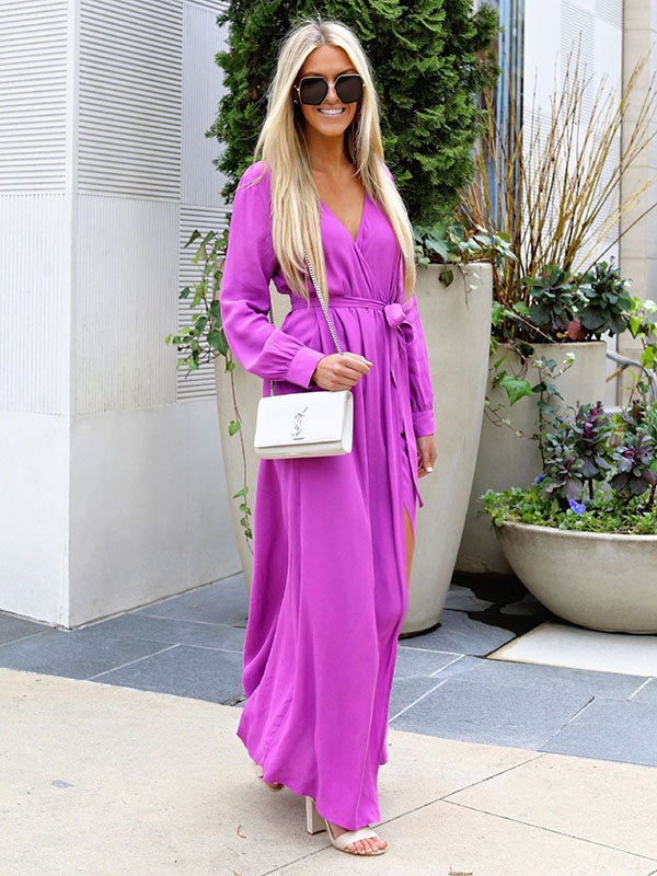 Bohemia Solid Color Long Sleeves Split-side Maxi Dress