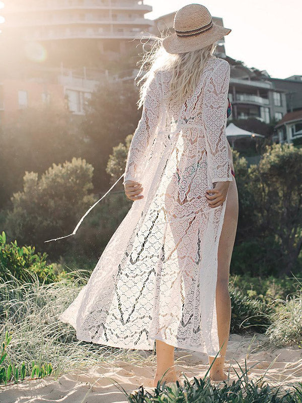8ae18ee7c4d Hollow Embroidered Lace-up Cover-up Swimwear