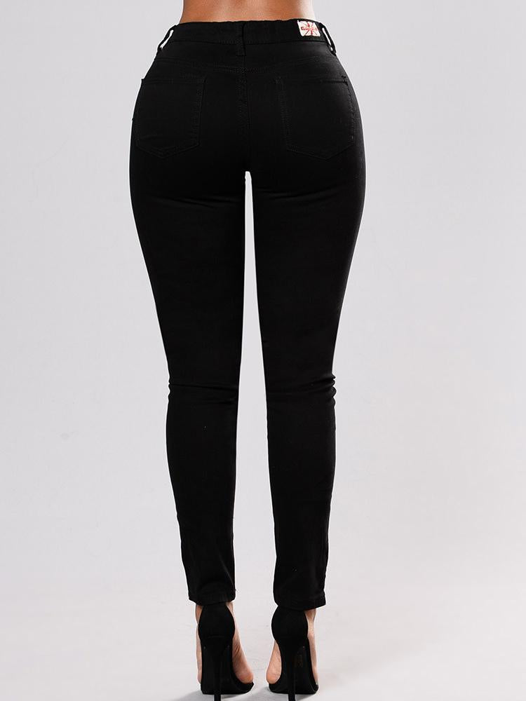 Fashion Black Elastic Embroidered Pencil Jean Pants Bottoms