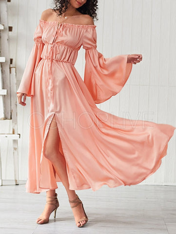 Vintage Solid Falbala Maxi Dress