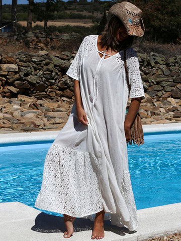 White Hollow Split-joint Maxi Dress