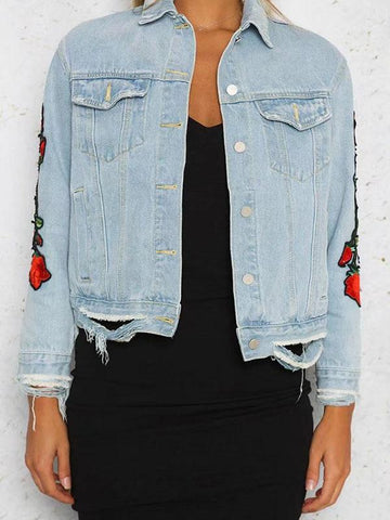 Fashion Red Rose Embroidered Jacket Tops