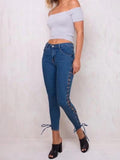 Fashion Bandage Elastic Jean Pants Bottoms