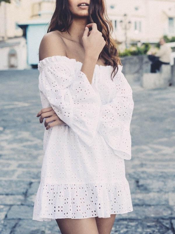 Off-the-shoulder Hollow Falbala Mini Dress
