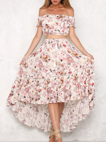 Floral Off-shoulder Tops And Asymmetric Skirt Bottoms